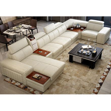 Modern Design Sectional Genuine Leather Sofa Living Room Furniture with Fridge