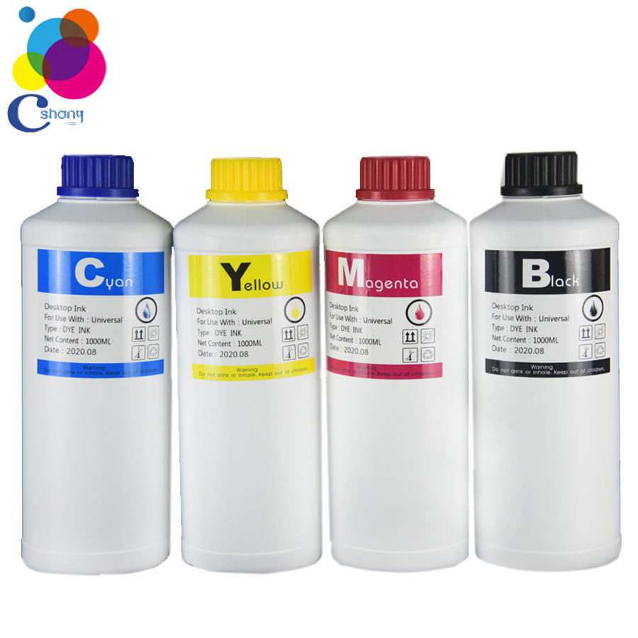 Bulk universal high quality bottle compatible refill ink 1000ml BK/C/M/Y-4Color for hp canon printer refill dye ink machine