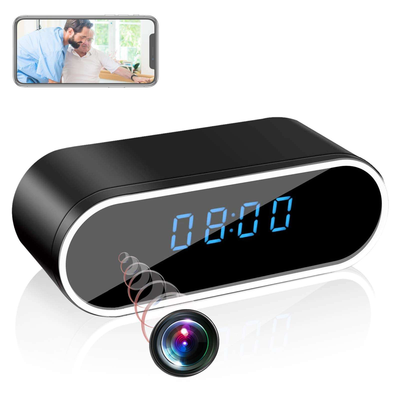 HD 1080P IP Clock camera Wireless Wifi camera Security Alarm Mini Camera