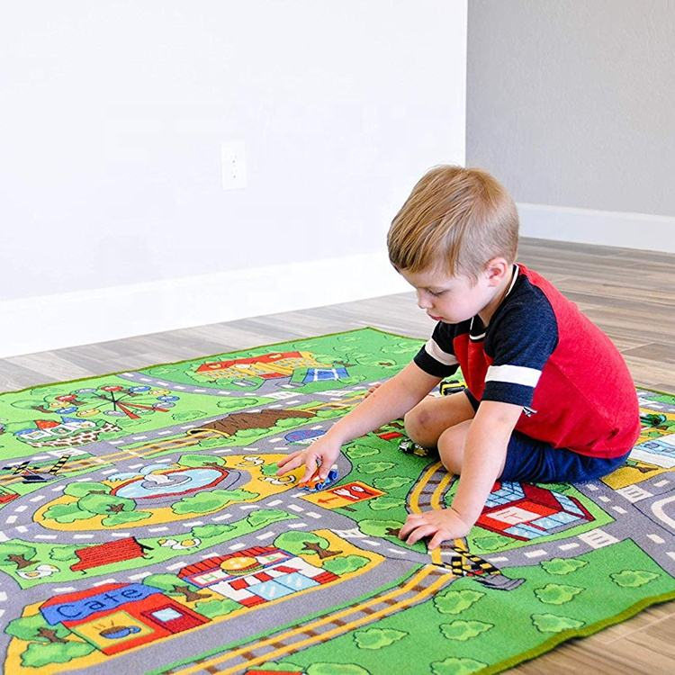 Nylon Printed Easy To Clean Soft Large Play Room Kids Floor Mat