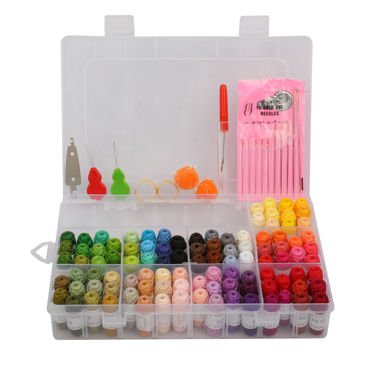 100 DMC random colors Embroidery thread Cross Stitch Thread Embroidery kit with Organizer Storage Box