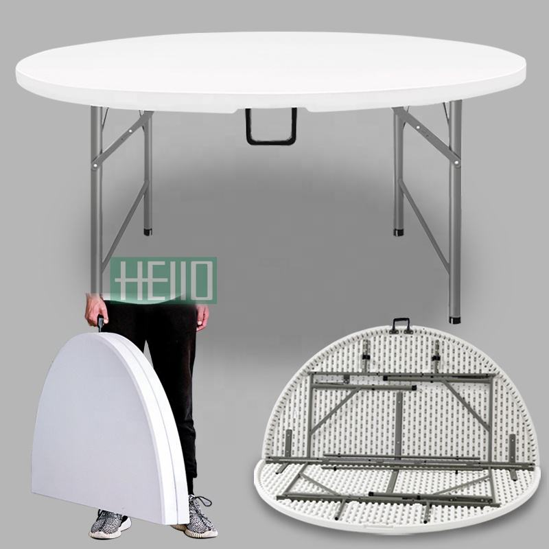 "60 inch round folding trestle table blow mold garden furniture outdoor 60"" round plastic tables for party events"