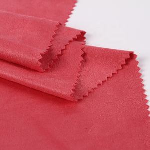 In stock 100% Polyester red knitted stretch super soft cheap ultra micro suede fabric for chair cover