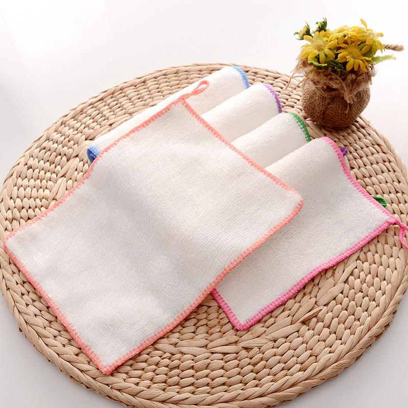 Kitchen thick double-layer color edging bamboo fiber dish cloth 23*18cm Korea non-stick oil dish towel rag