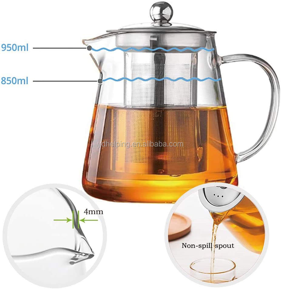 950ML Teapot With Filter Glass Water Carafe Borosilicate Glass,Glass Teapot with Infuser Tea Pot 950ml/32oz Tea Kettle Stovetop