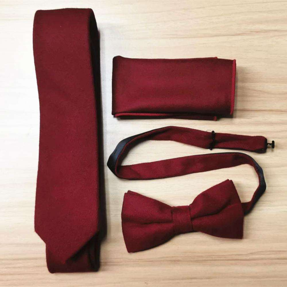 High quality wool burgundy tie three-piece