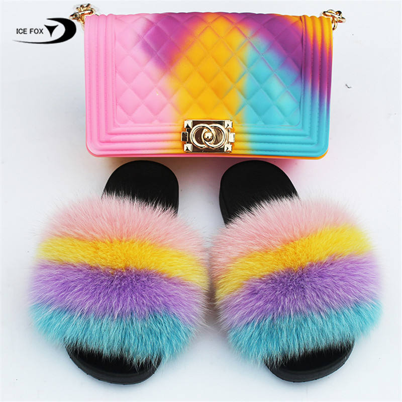 Fluffy Home Slippers Ladies Sweet Cute Fuzzy Plush Shoes Hot Women Fur Slippers Rainbow Fur Slides Real Fox Fur Sandals