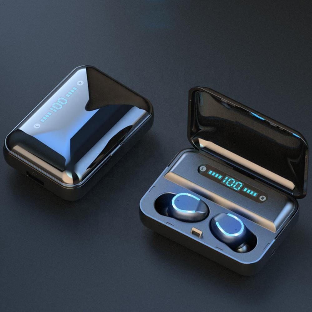 LED Display Mini Bluetooth Headsets Wireless Earbuds 5.0 IPX7 Waterproof Big LED Ear Phone TWS Earphones F9-5