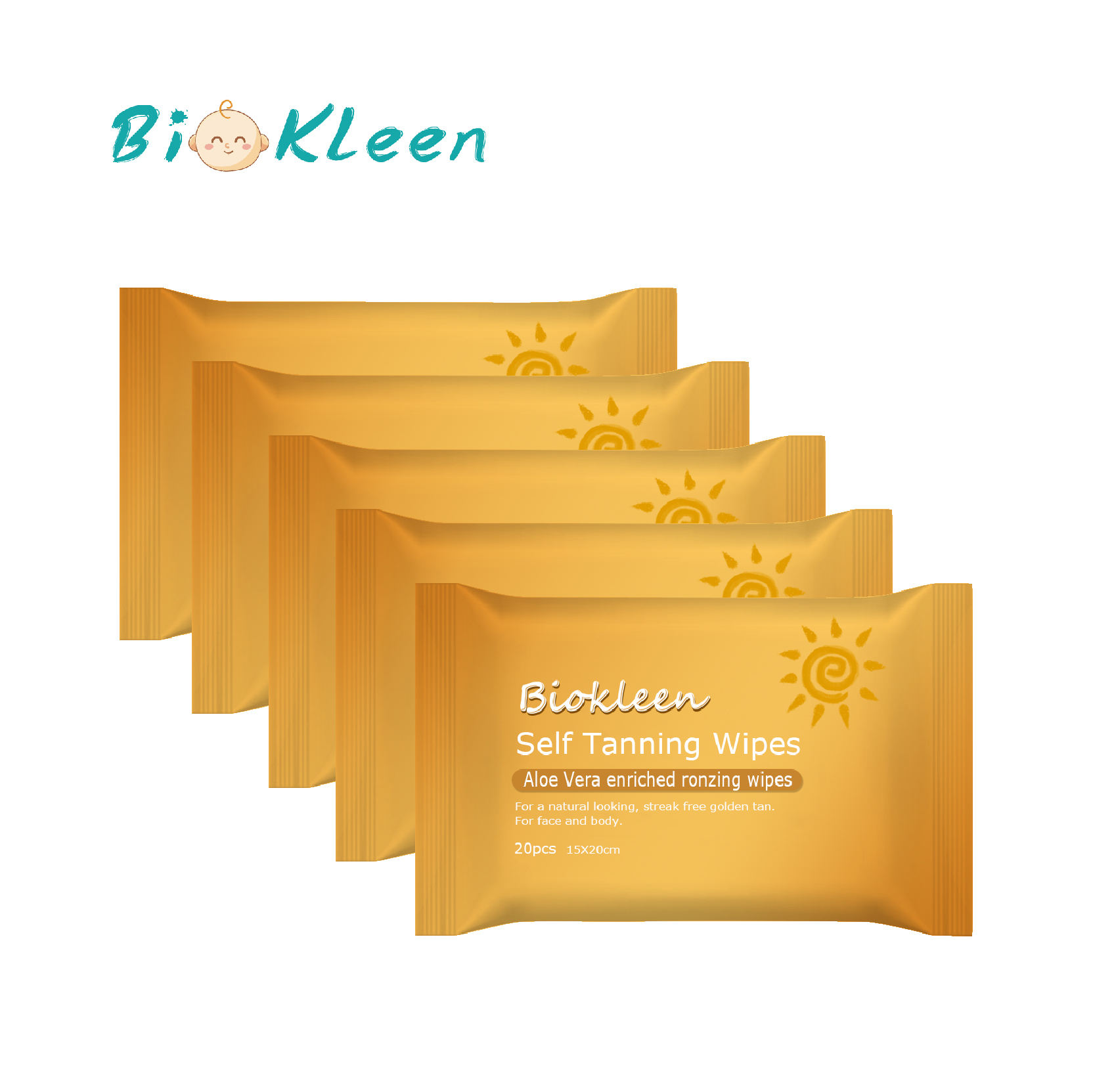 Biokleen Latest Innovative 100% Flushable Tanning Wet Wipe, Wholesaler Price 100% Flushable Self Tan Wipes