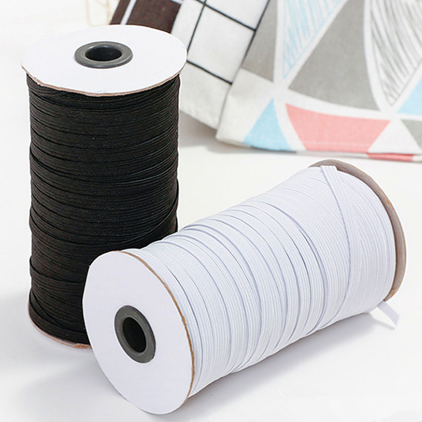 Wholesale 3mm 4mm 5mm 6mm Black&White Flat Knitted Elastic Band soft Webbing Elastic tape for Mask earloop