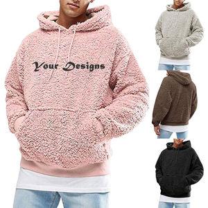 Custom Embroidery Men Winter Fluffy Hoodies Pullover Fleece Sweatshirt Fuzzy Jumpers