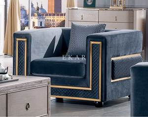 Blue Velvet Modern Home Furniture Loveseat Couch Living Room Sofa