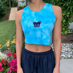 2020 Summer New Fashion Hot Sale Butterfly Embroidered Vest Women All-Match Slim Top