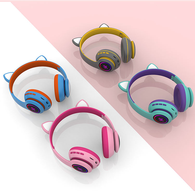SNHALSAR CT-66 Termichy 2020 Cat Ear LED Music MP3 FM Noise Cancelling Kids Wireless HeadphonesためKids