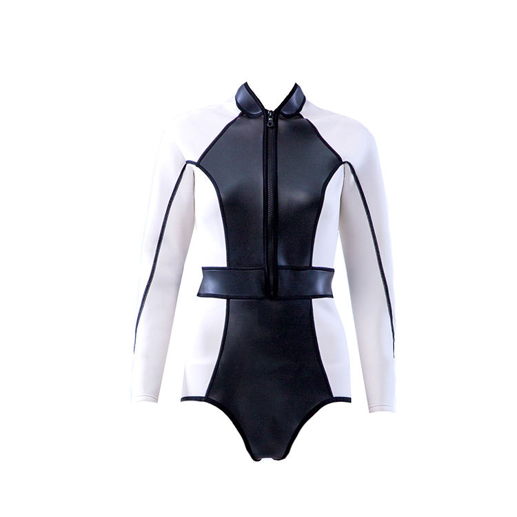 Women's Shorty Wetsuit SCS real leather One Piece Long Sleeve Front Zip 1mm Neoprene Diving suit