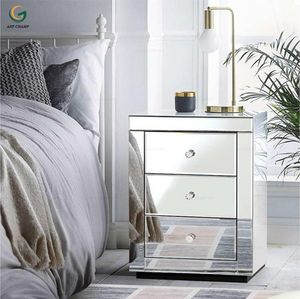 Bedroom Modern Style Night Mirrored Bedside Table
