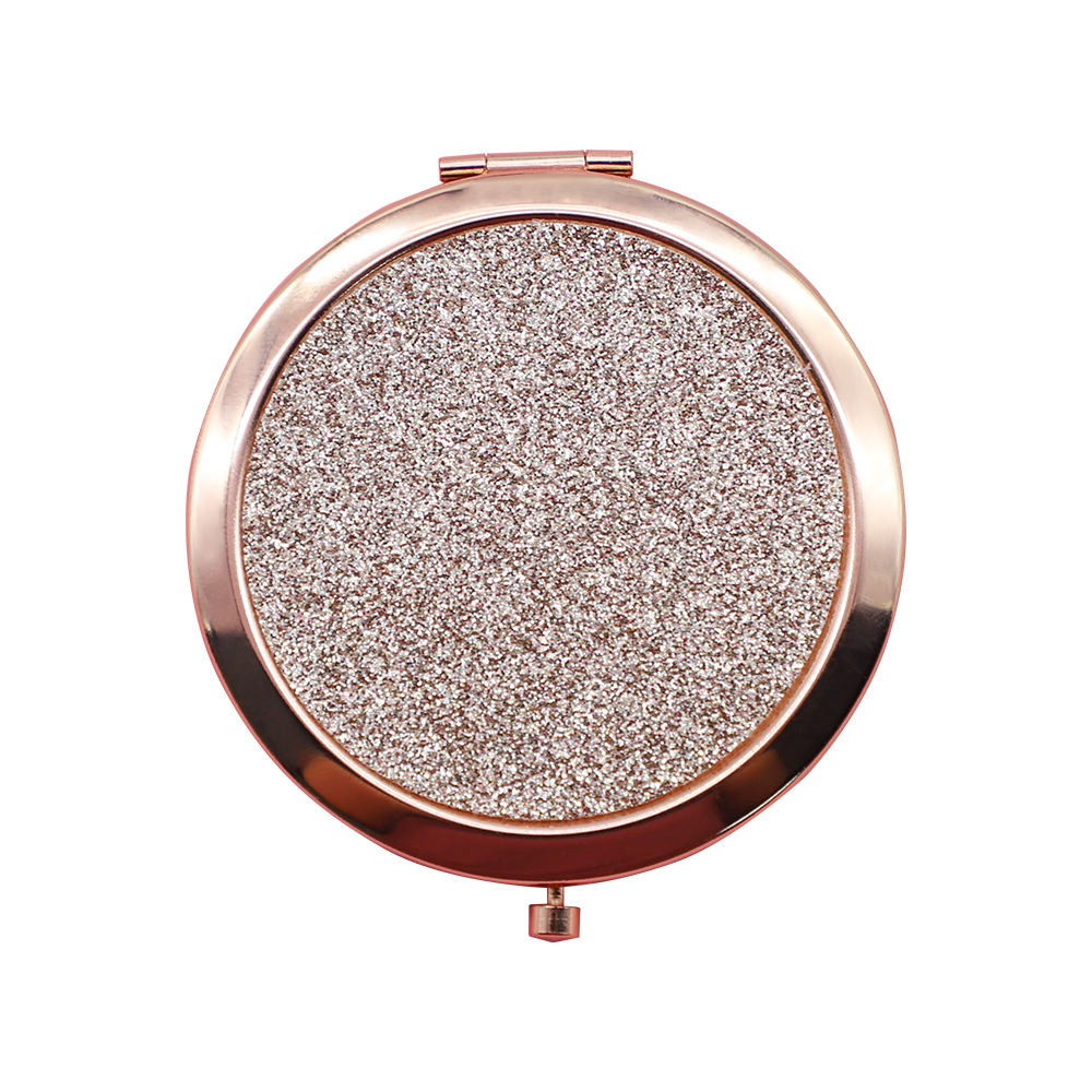Promotional Gift Rose Gold Plating Round Shape Metal Glitter Folding Makeup Pocket Portable Mirror