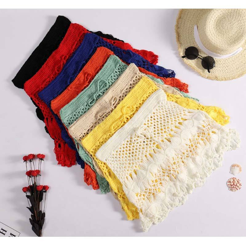 2020 design 8 colors women beachwear sexy crochet lace skirt colored ladies skirt