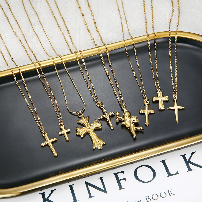 Olivia Christianity custom prayer jewelry unisex popular accessories religious cross 18k gold stainless steel necklace