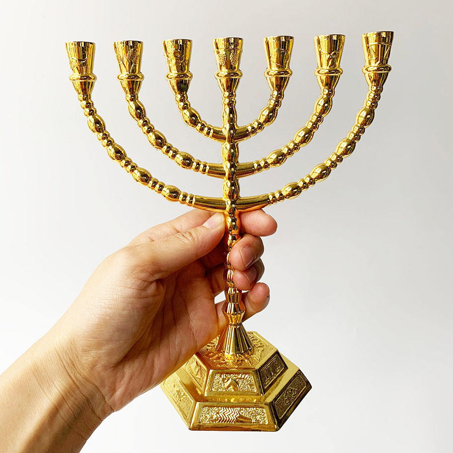 20x16cm Jewish Menorah Candle-holders Religions Candelabra Hanukkah Candlesticks 7 Branch Candle Holder
