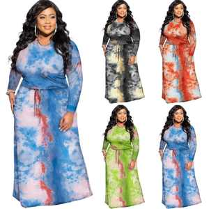Foma D1063 Hot style fashion tie dye 5XL party wear fashion women clothing plus size dresses