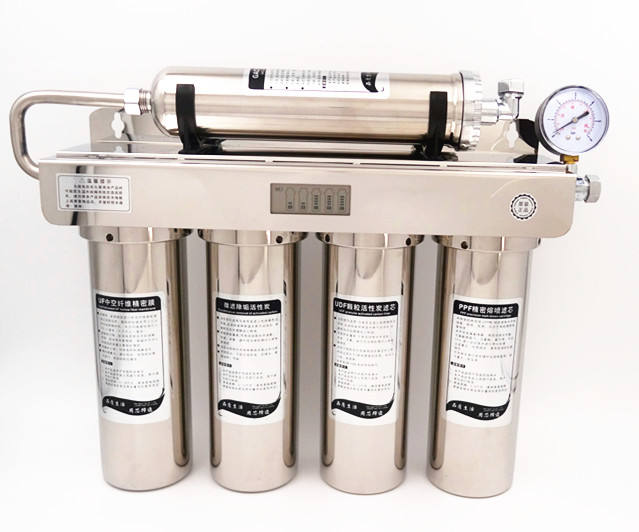 5 Stages Stainless Steel Gravity Water Filter Housing With Pressure Gage
