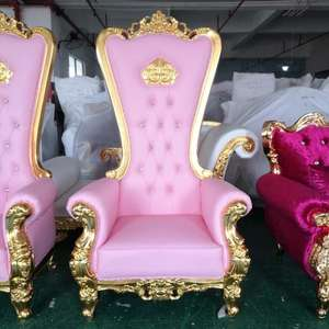 Luxury Royal Cheap King Throne Chair Pink Wedding Chair For Bride And Groom
