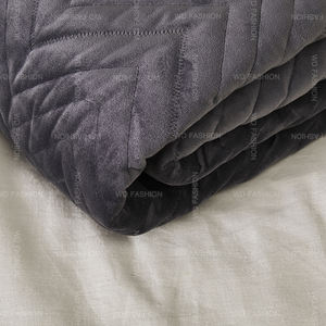Delicate stripes dark gray fluffy duvets quilt cover bedding set bed