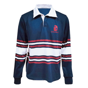 Traditional Stripe Knit Badged Leaver Rugby Jersey