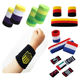 Custom Sports Embroidered cotton Sweatbands No Minimum order for rainbow terry sweat wrist band embroidery sweatband cycling