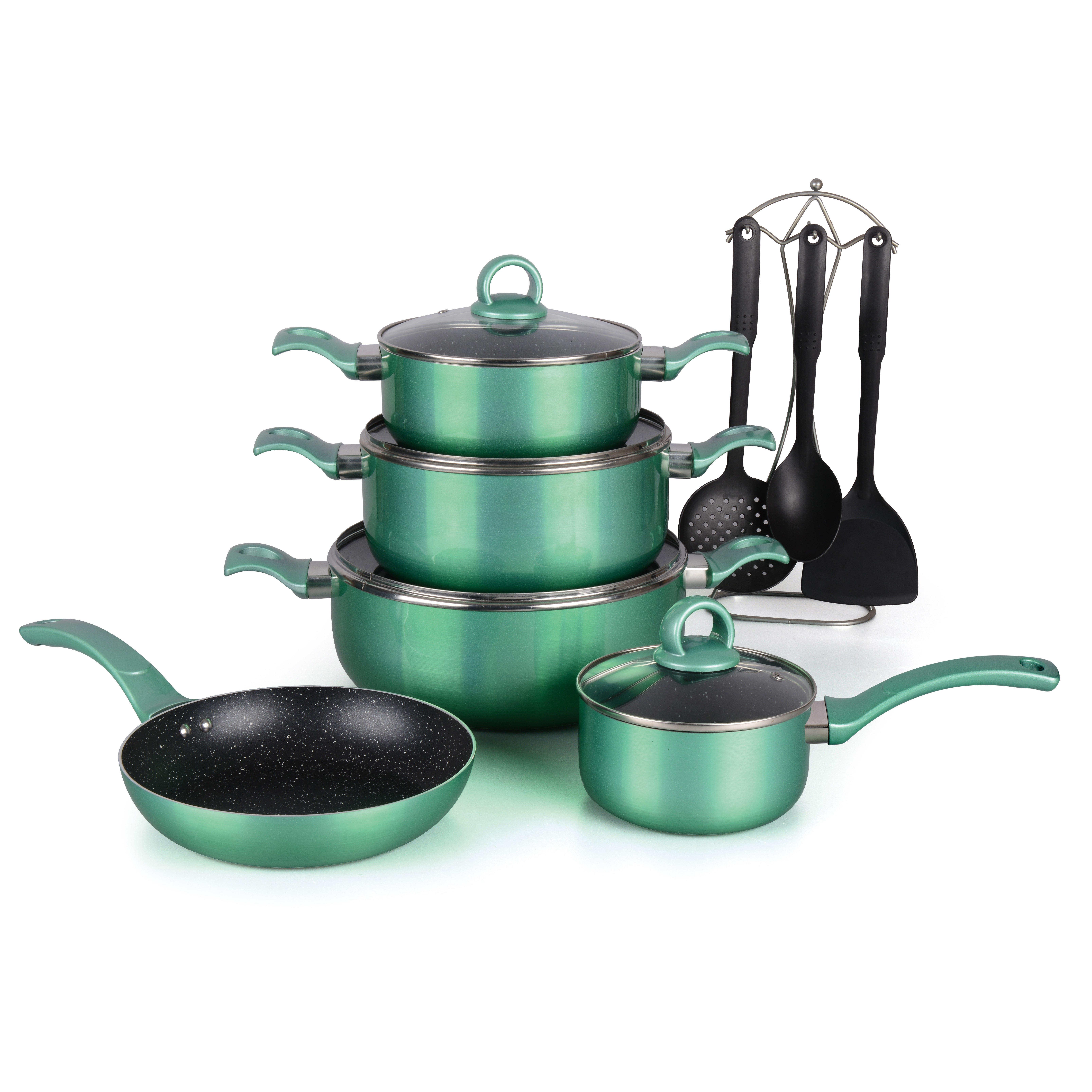 9pcs aluminum marble non stick coating kitchen cookware with bakelite handle non-stick cookware