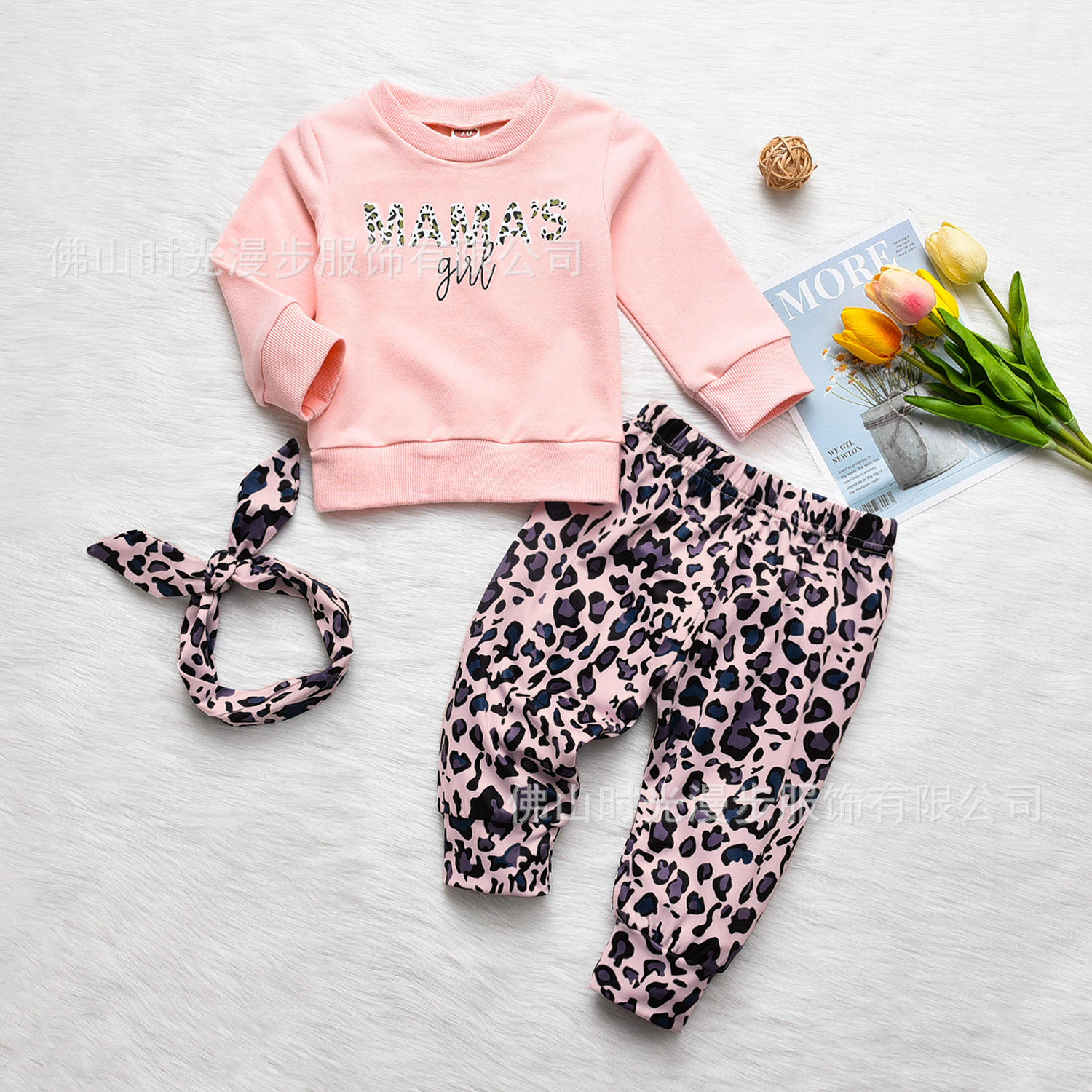 Infant clothing 2017 Autumn Winter Baby Girls Clothes T-shirt+leopard printPants 2pcs Outfit Suit Baby Girls Clothing Set