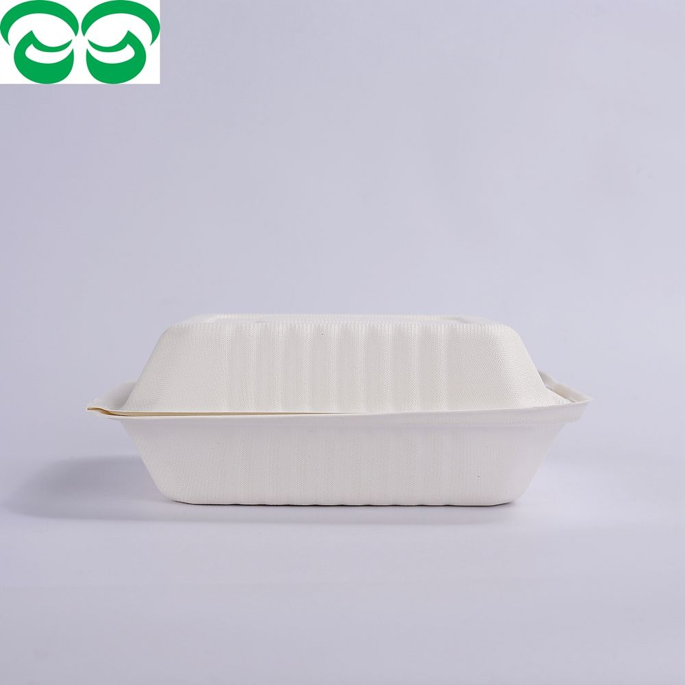 "Biodegradable And Compostable Sugarcane Pulp 8"" Clamshell"