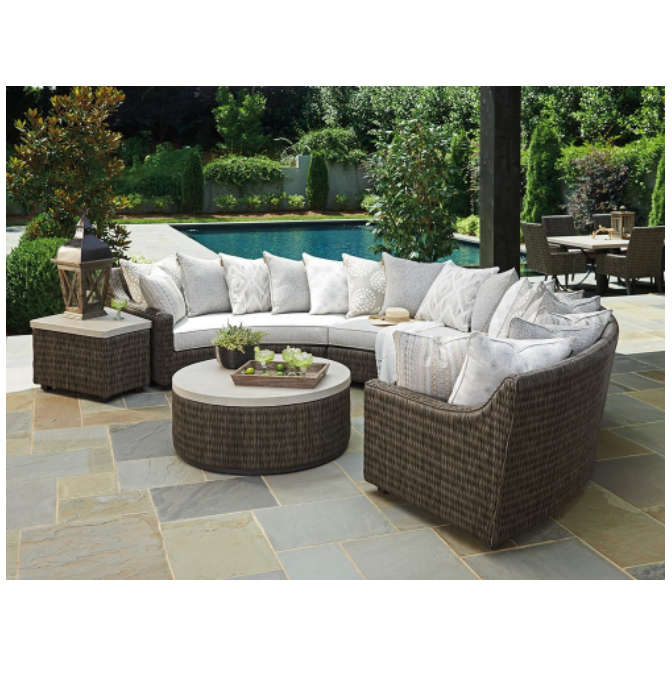 2018 curved rattan sofa set sectional wicker semi circle patio furniture