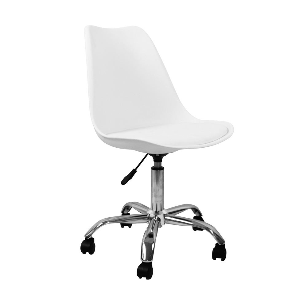 Modern Design Sillas Height Adjustable Ergonomic Wheel Computer White Plastic Seat Tulip Metal Base Office Chair With Cushion