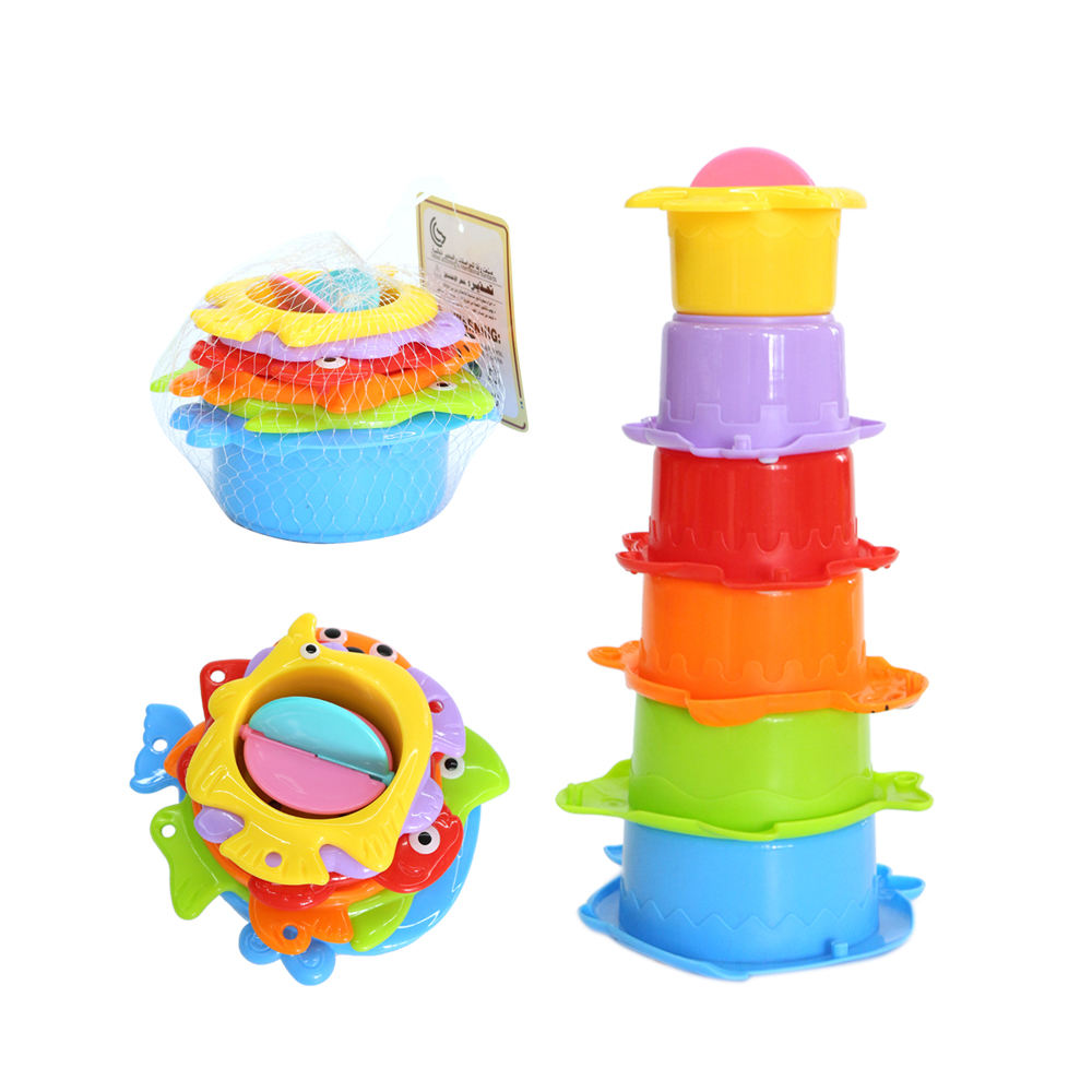 New baby bath gift plastic baby stack cup shower gift toy