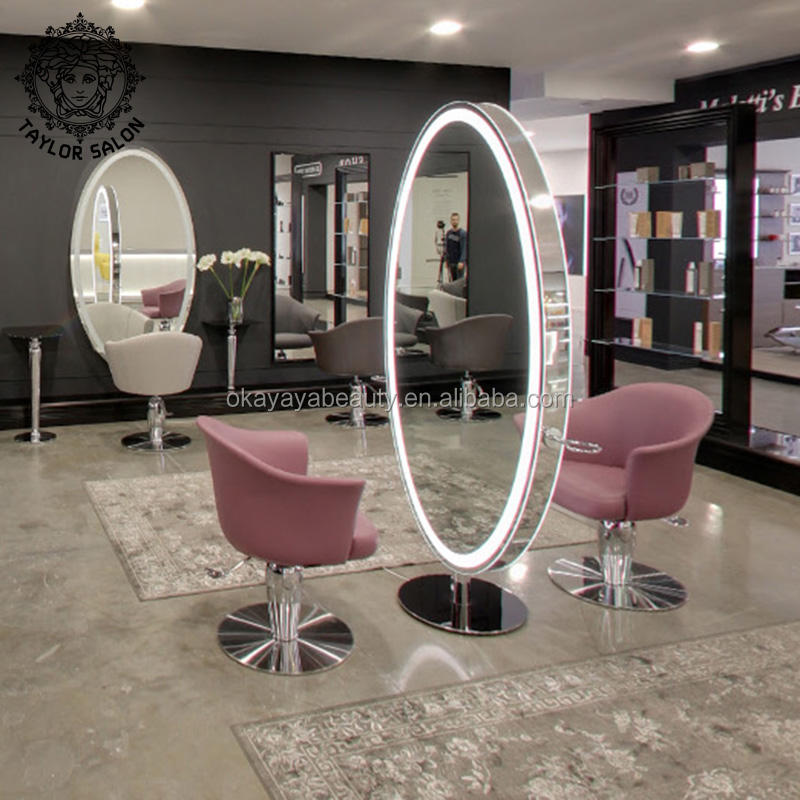 Beauty hair salon furniture metal styling make up station barber stations double side mirror with lights