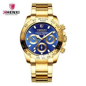 oficial de la mejor marca de lujo Ultra delgado dorado hombres reloj mecánico correa de malla