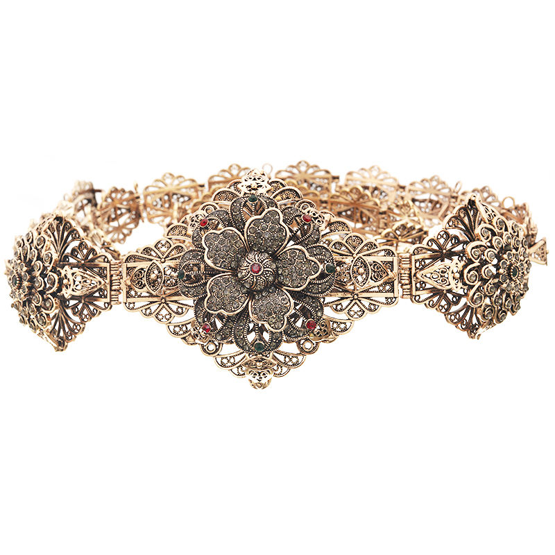 Vintage color belt with black rhinestone Moroccan style wedding decoration waist chain ladies hollow floral jewelry belt