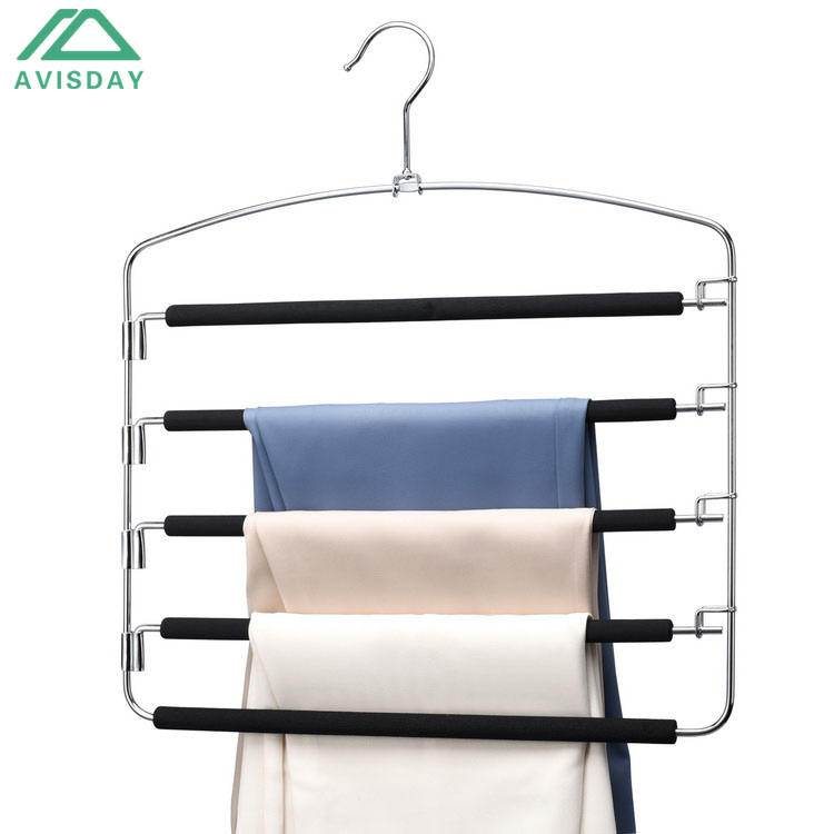 Avisday 5 layers Metal Slack Trousers Hanger Foam Padded Multi-Functional Closet Organizer