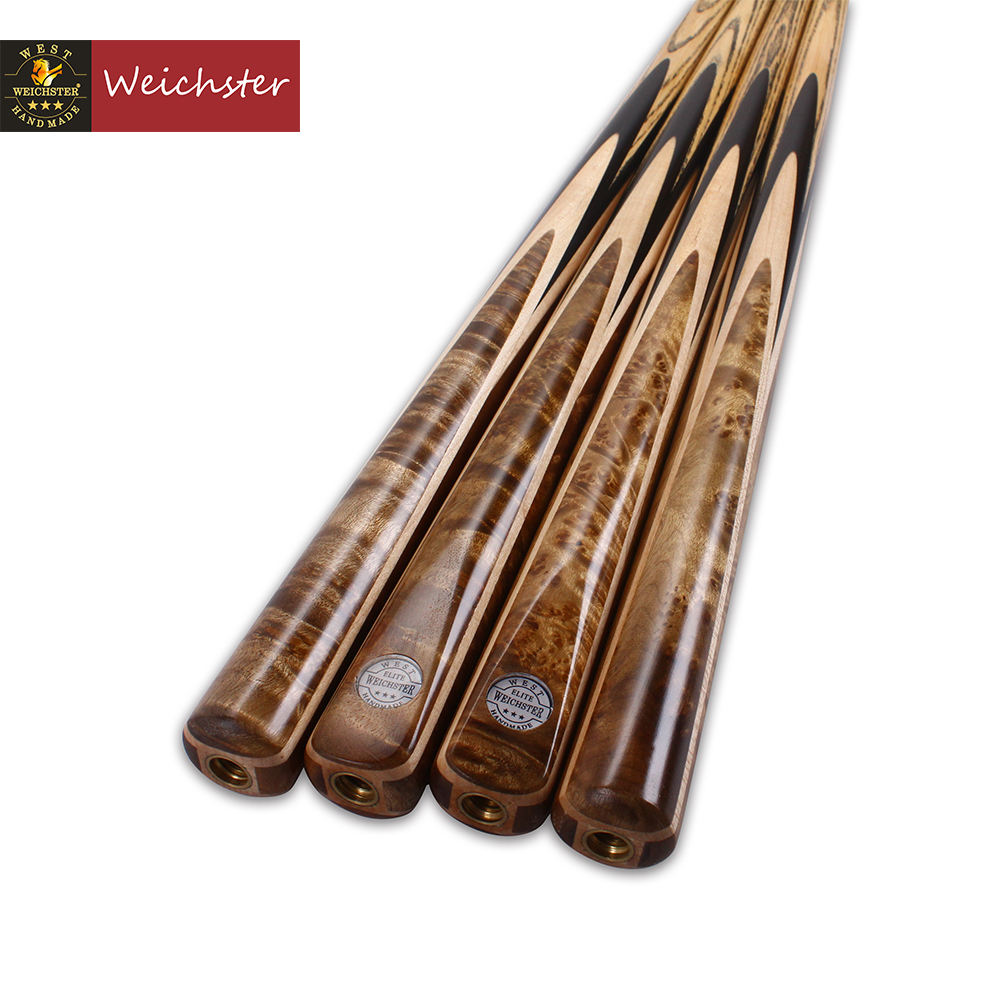 Weichster Golden Burr Ebony One 1 Piece Handmade Snooker English Pool Cue