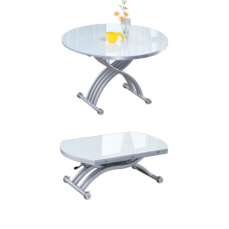 Hot selling glass top round convertible dinning table up   down coffee table  extendable top saving space living room furniture