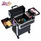 Case Trolley Case Makeup Trolley Aluminum Portable Cosmetic Beauty Hairdressing Metal Makeup Box Case Storage Trolley
