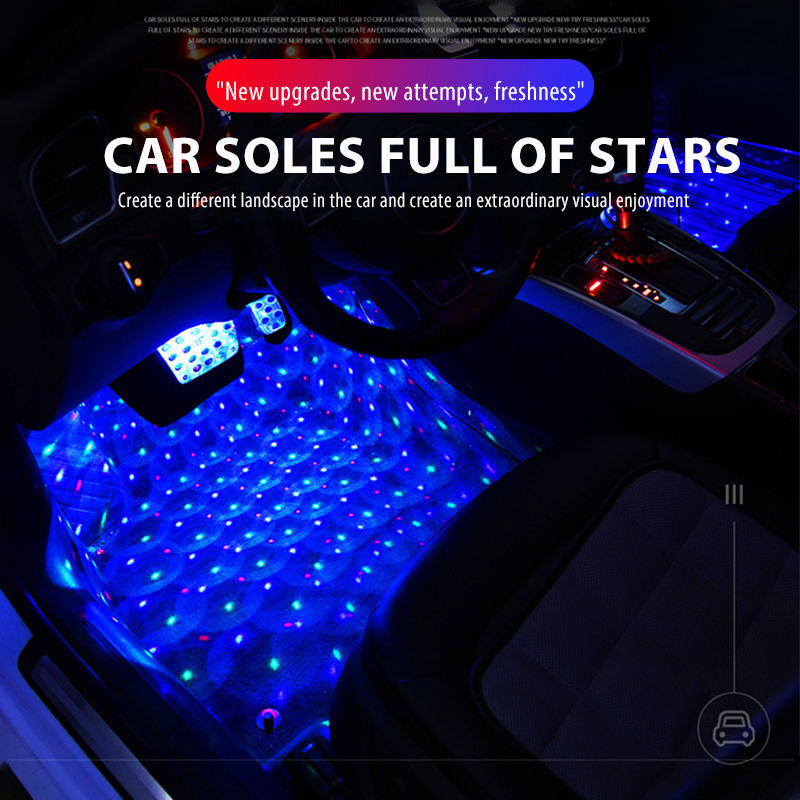 Led Car Foot Star Starry Light With Usb Rgb Remote Control Waterproof Auto Interior Atmosphere Lights Decorative Neon Lamp New
