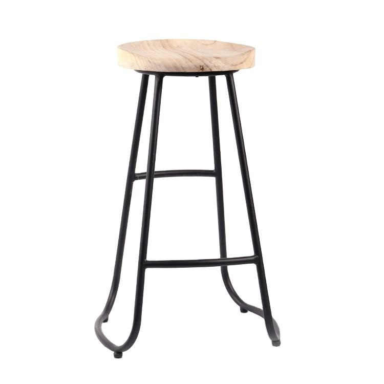K&B China Nordic modern simple design metal cast iron legs wooden bar stool high chair