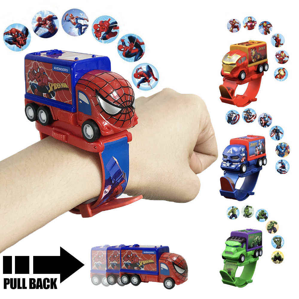 Cartoon Digitale Elektronische Kids Auto Horloge Speelgoed Bakstenen Digitale Auto Horloge Spiderman Armband Speelgoed
