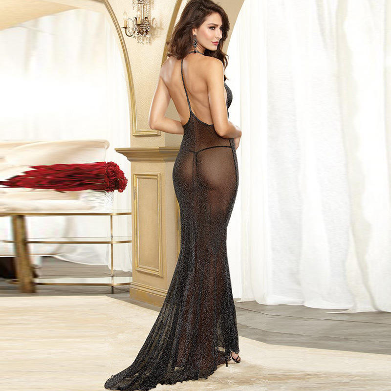 Black Mesh See-Through Long Skirt Low-Cut Sexy Sling Nightdress Sexy Suit Women Sexy Lingerie Dress Underwear Sexy Robe Lingerie