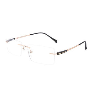 DC8014 men square optical rimless elastic stainless steel temple eyeglasses