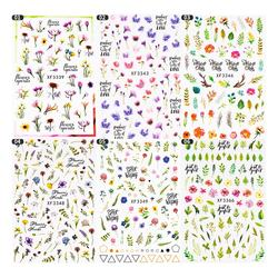 Hot Sell Bright Colored Flower Leaves Gel 3D Nail Sticker DIY Nail Decal Decoration