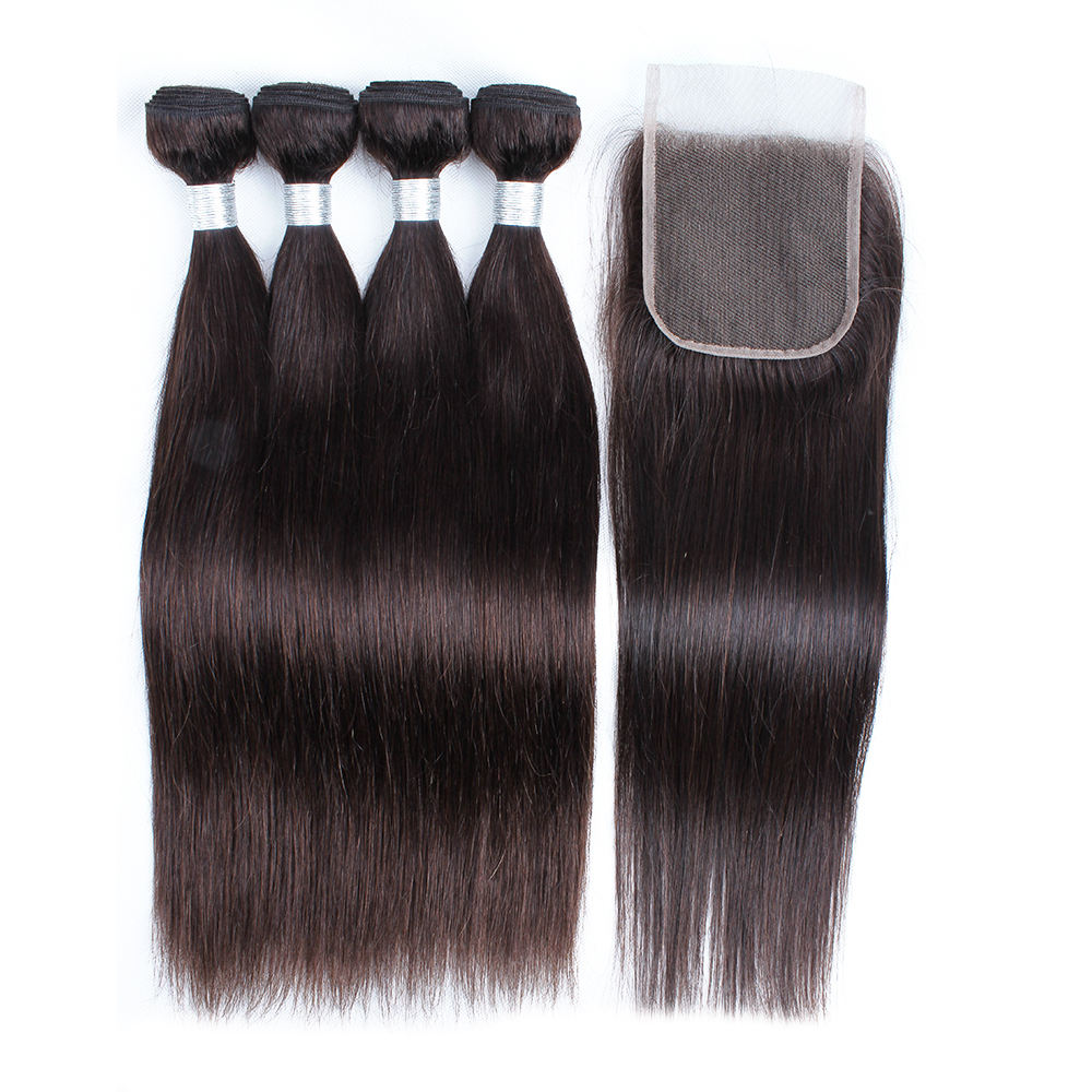 10A Grade Unprocessed Virgin Brazilian Straight 100 Human Hair Weave Bundles With Closure
